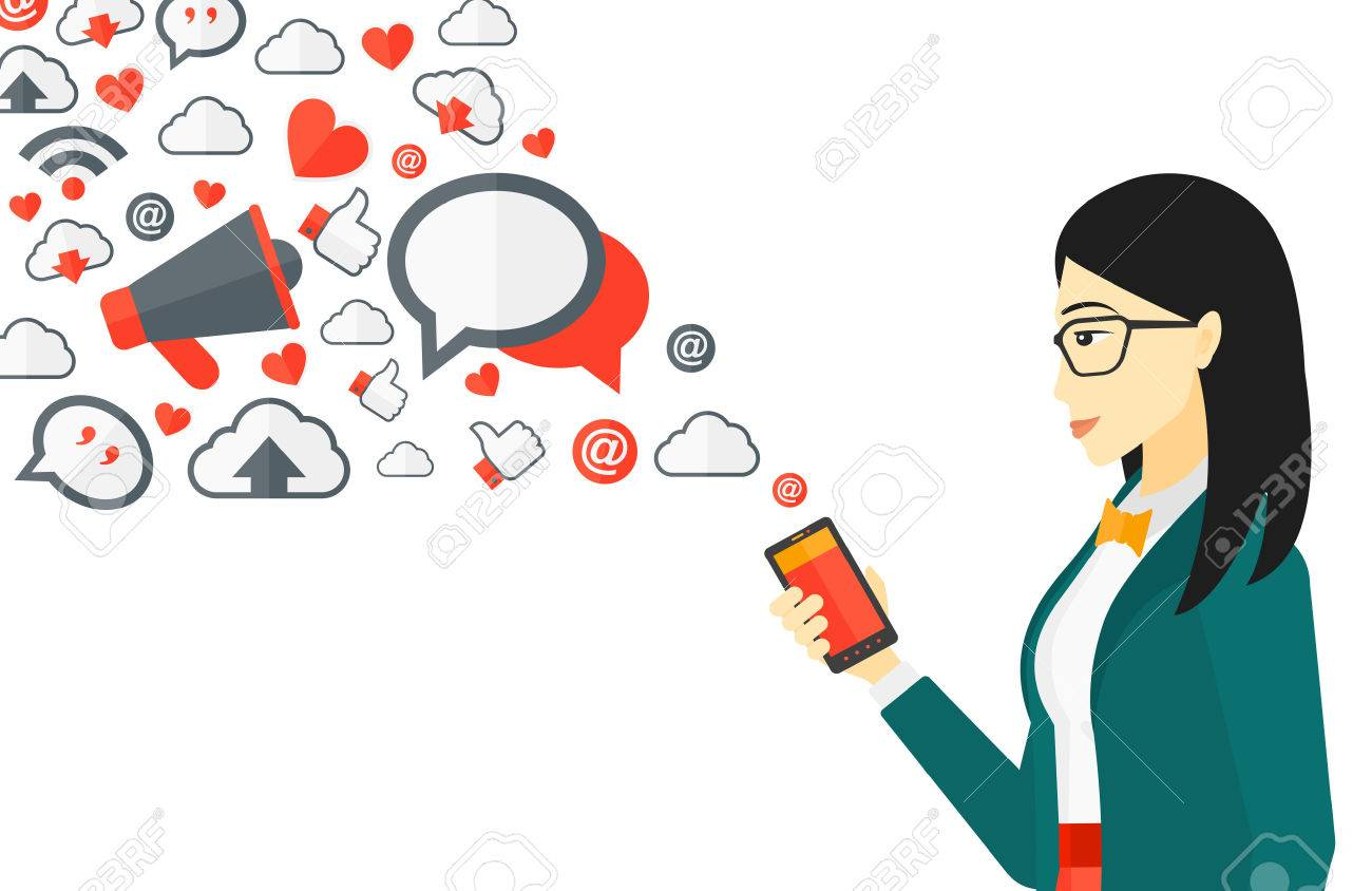 An asian woman using smartphone with lots of social media application icons flying out vector flat design illustration isolated on white background. - 52007297