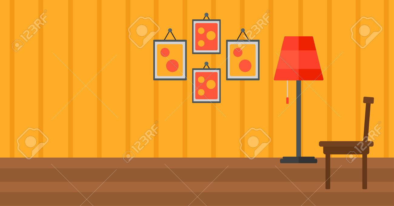 Background of living room vector flat design illustration. Horizontal layout. - 52009237