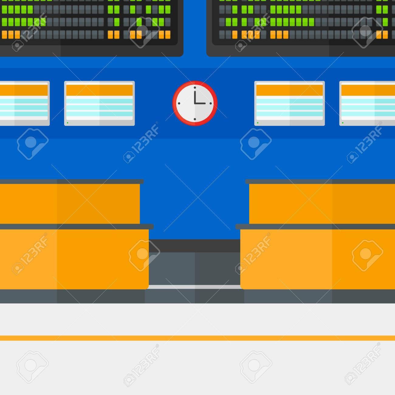background of schedule board in airport vector flat design