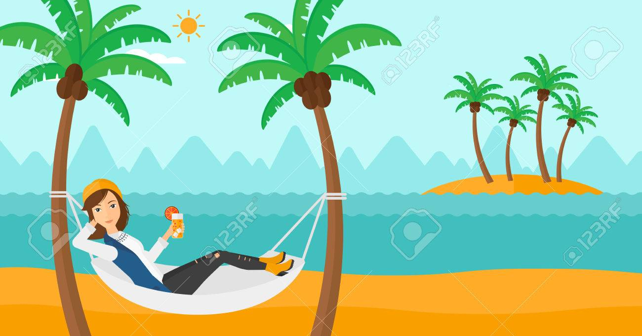 A Woman Chilling In Hammock On The Beach With Cocktail Hand Vector Flat