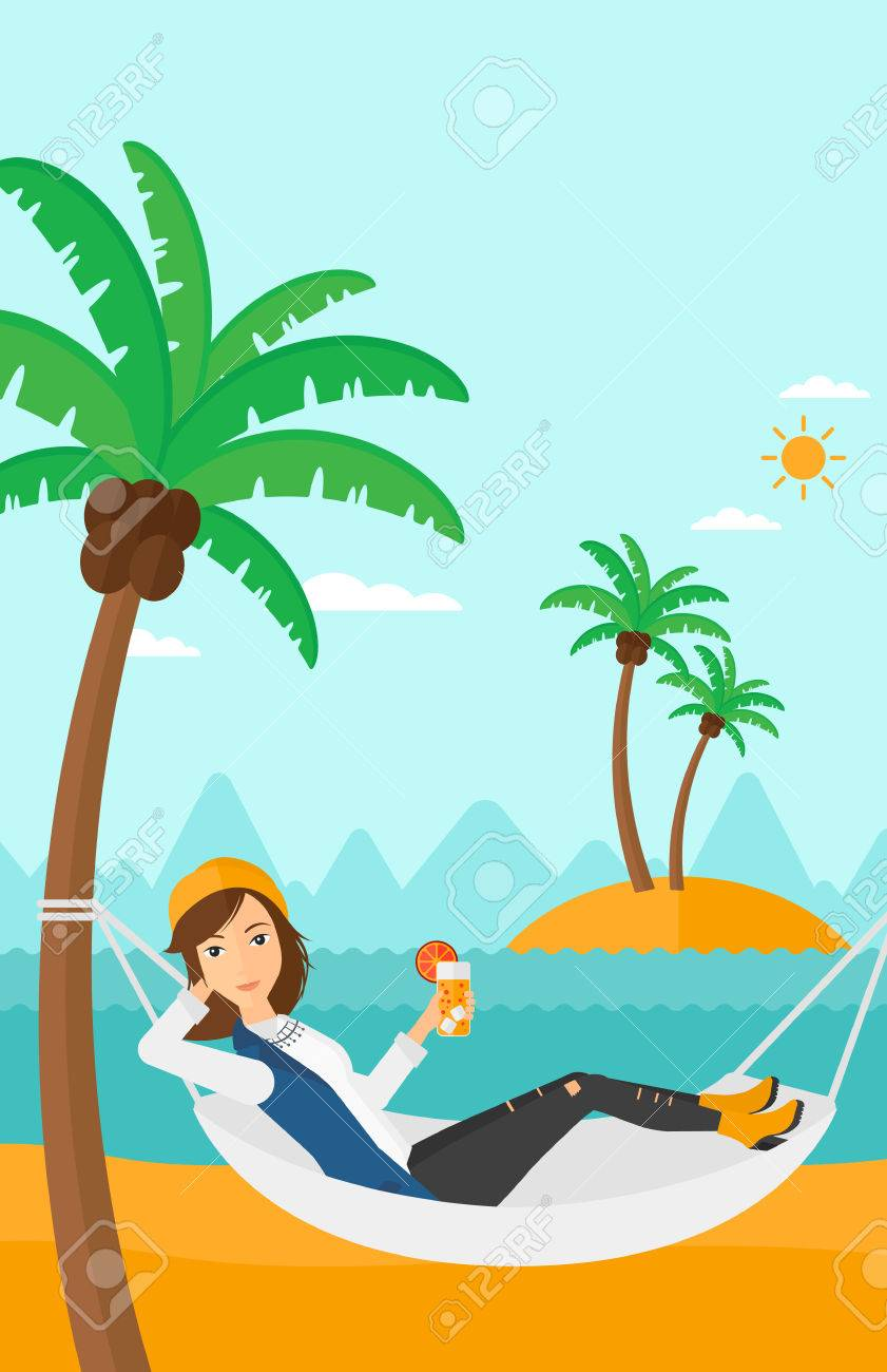 a woman chilling in hammock on the beach with a cocktail in a