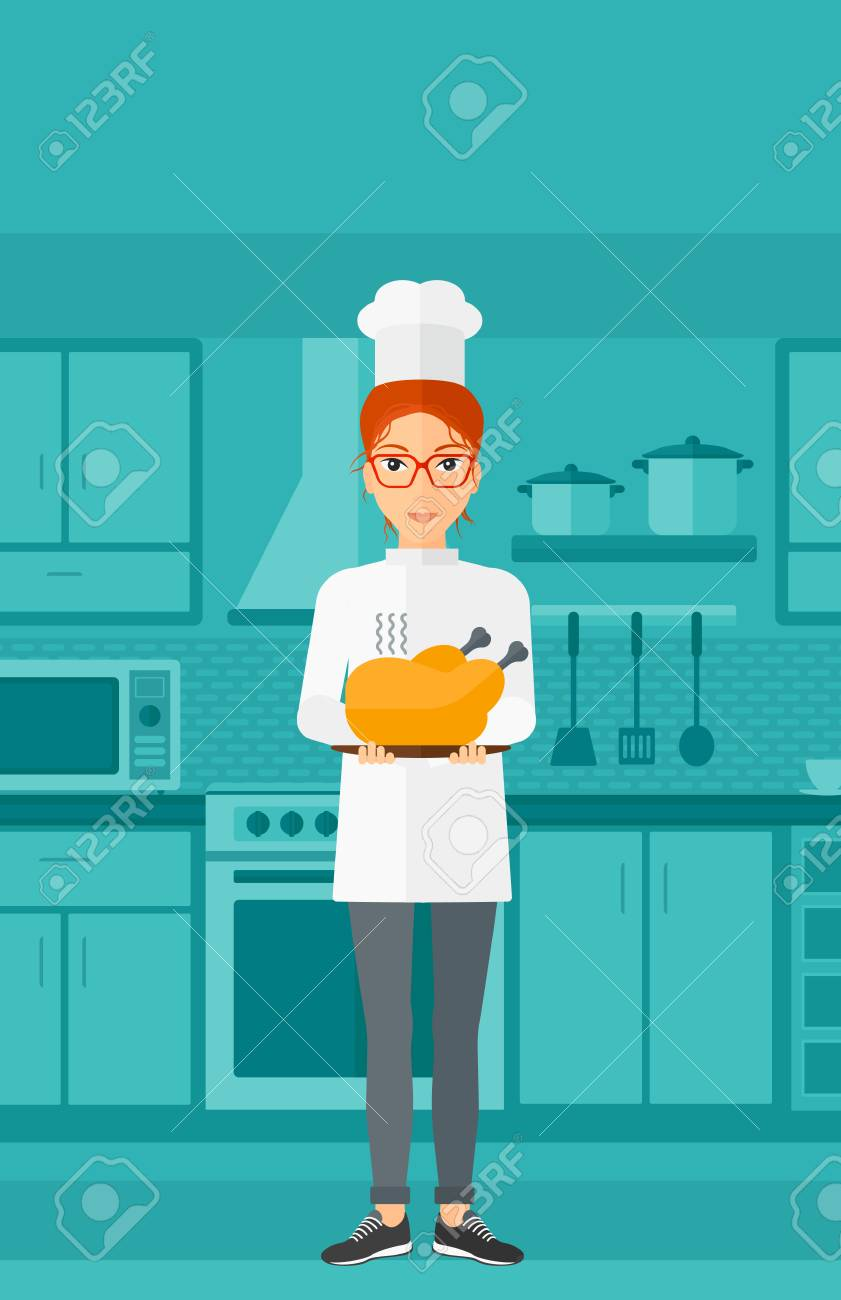 A Chef Stnding In The Kitchen And Holding A Plate With A Hot ...