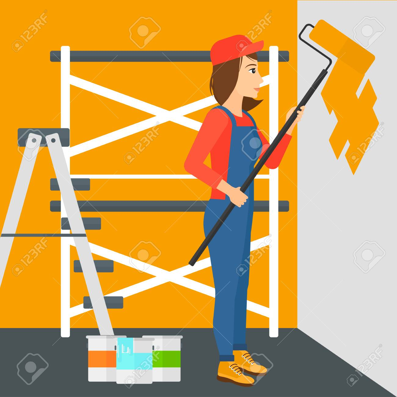 A Woman Painting Walls With A Paint Roller Vector Flat Design