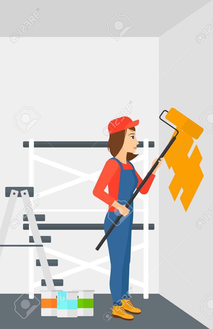 a woman painting walls with a paint roller vector flat design a woman painting walls with a paint roller vector flat design illustration vertical layout