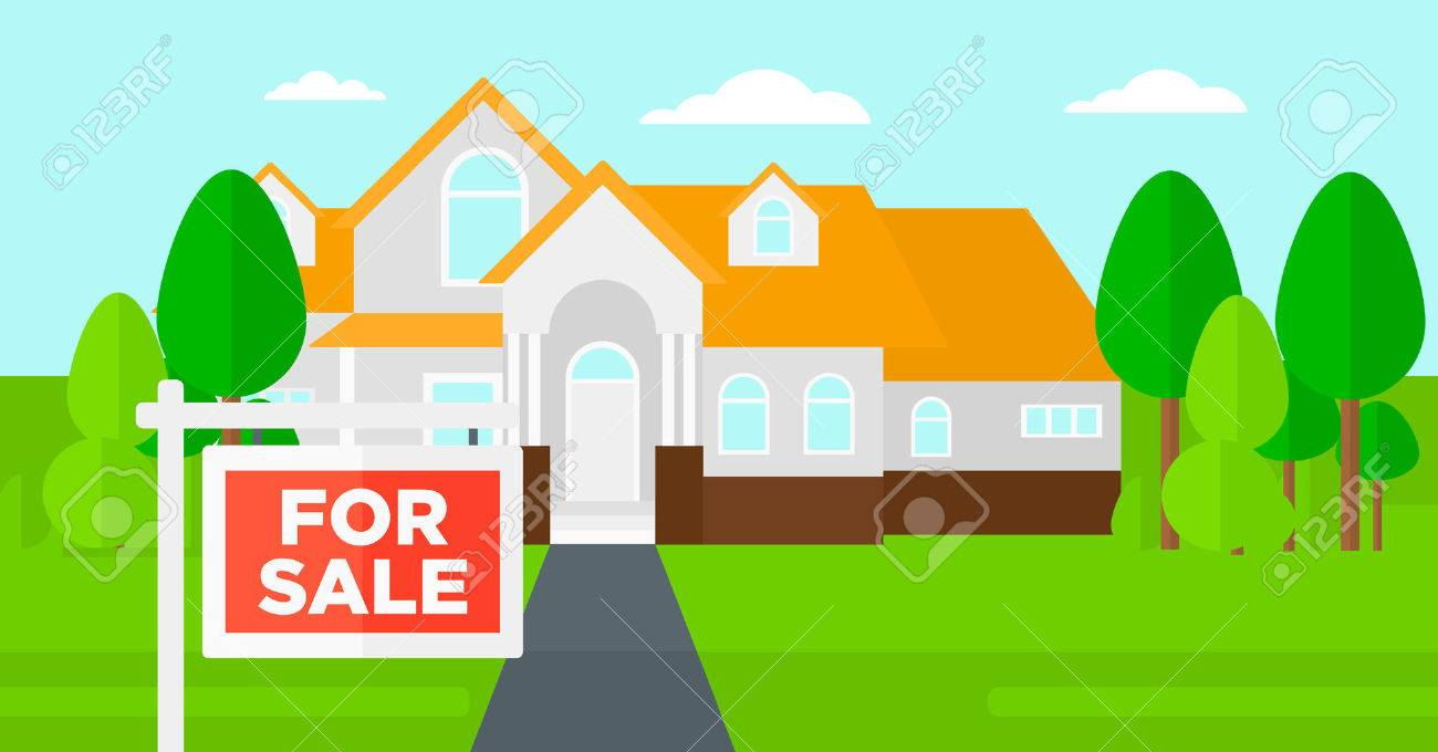Background of house with for sale sign vector flat design illustration. Horizontal layout. - 51998051