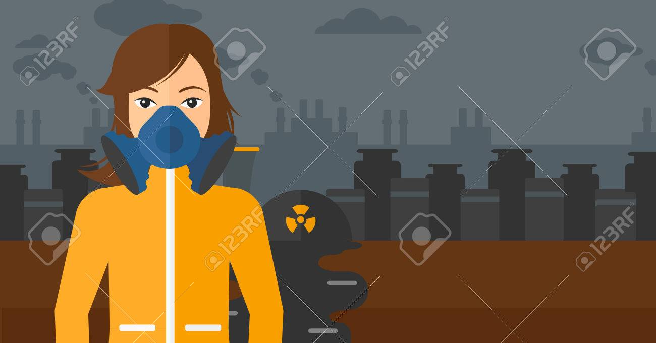 A Woman Wearing Protective Chemical Suit For Toxic Atmosphere On Power Plant Equipment Layout Background Of Nuclear