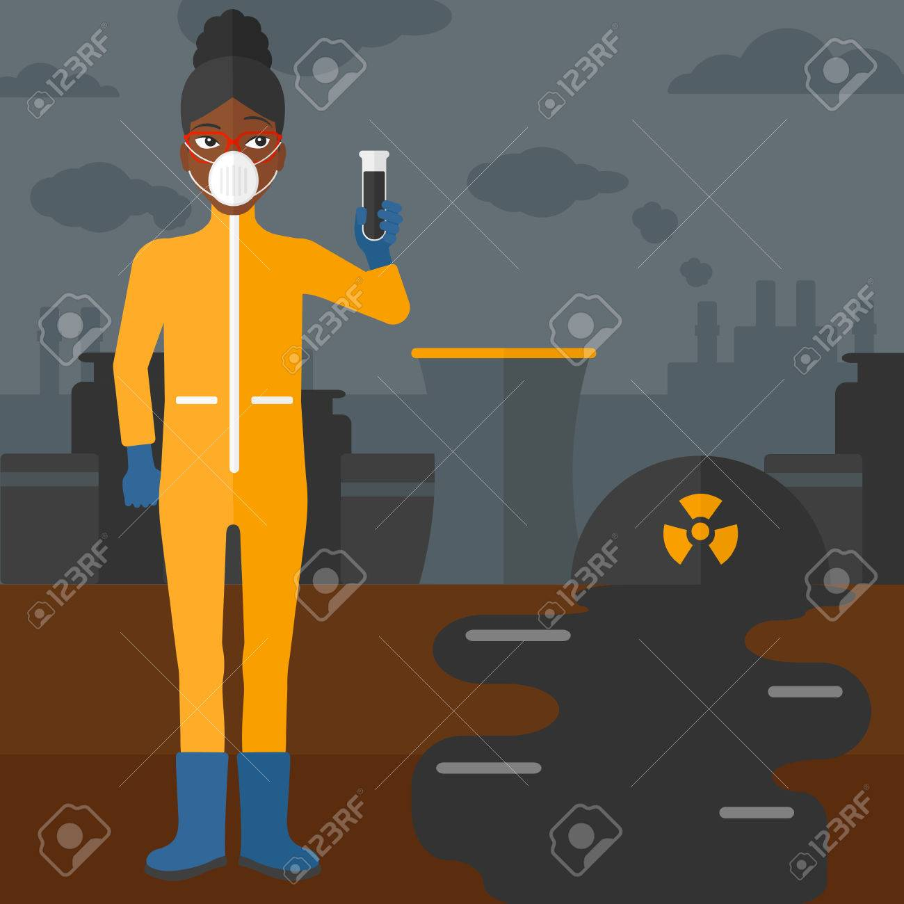 An African American Laboratory Assistant In Protective Chemical Power Plant Layout Design Vector Flat Illustration Square Suit Holding A Test Tube