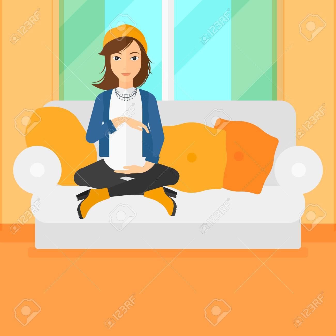 Pleasing A Pregnant Woman Sitting On A Sofa In Living Room Vector Flat Evergreenethics Interior Chair Design Evergreenethicsorg