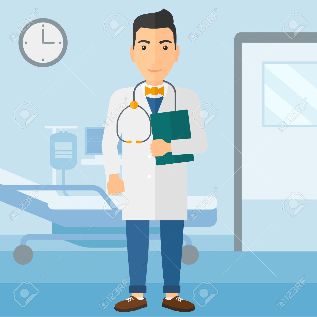 A happy doctor with stethoscope and a file on the background of hospital ward vector flat design illustration. Square layout. - 52372571