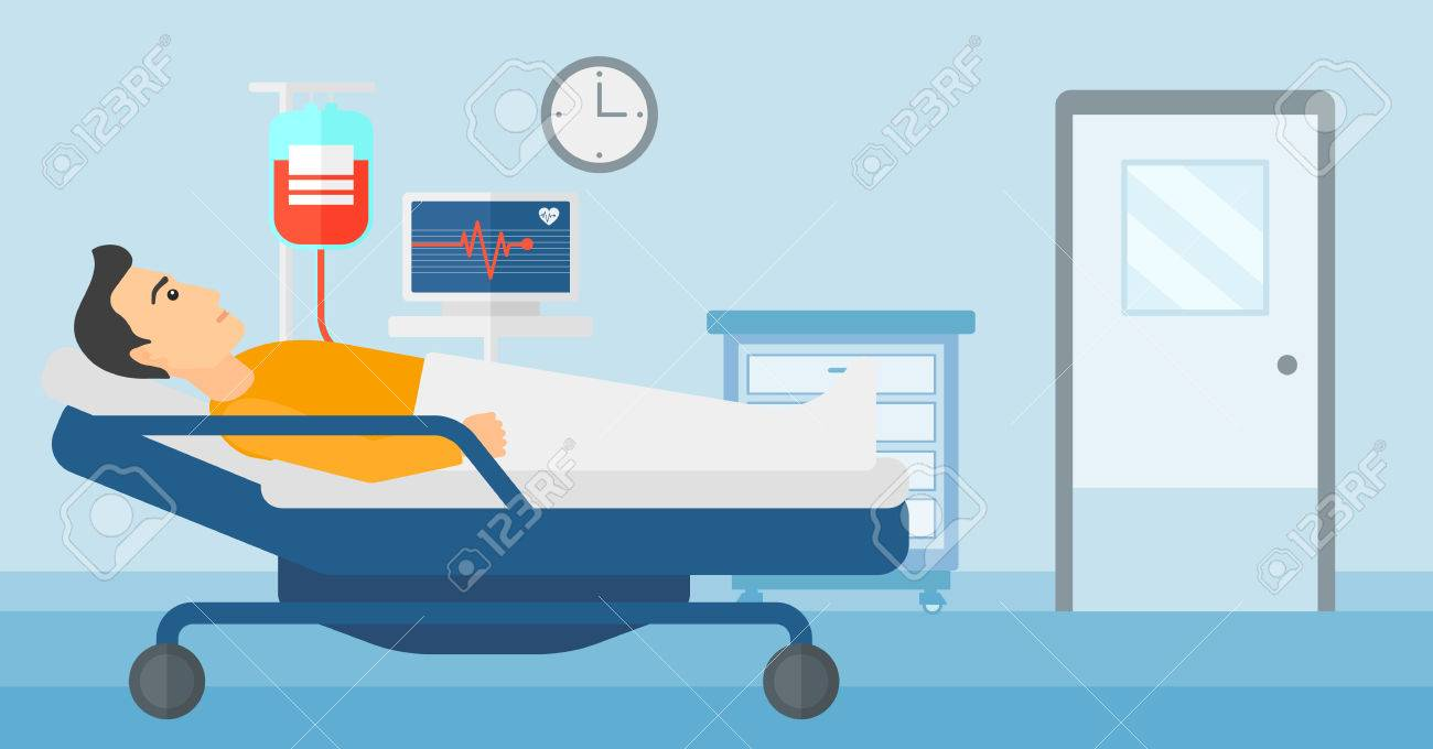 A man lying in hospital ward with heart rate monitor while blood transfusion is running vector flat design illustration. Horizontal layout. - 52374904