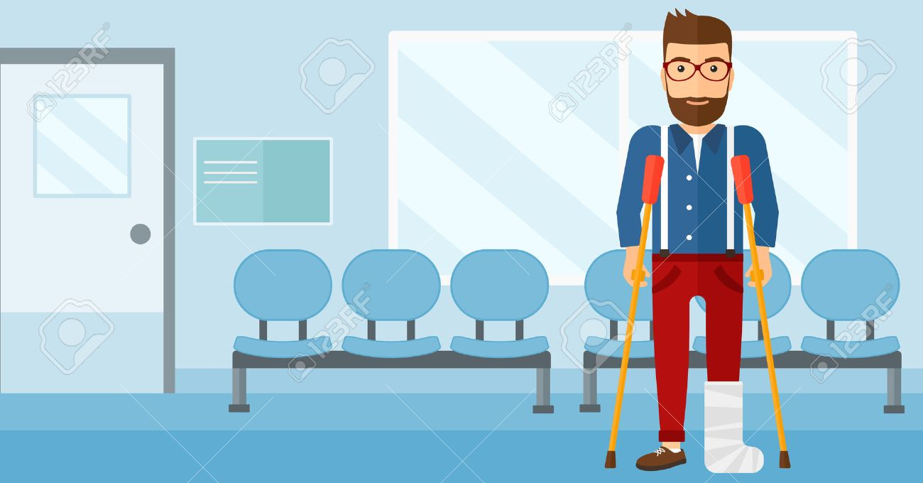 An injured hipster man with broken leg standing with crutches on the background of hospital corridor vector flat design illustration. Horizontal layout. - 52372448