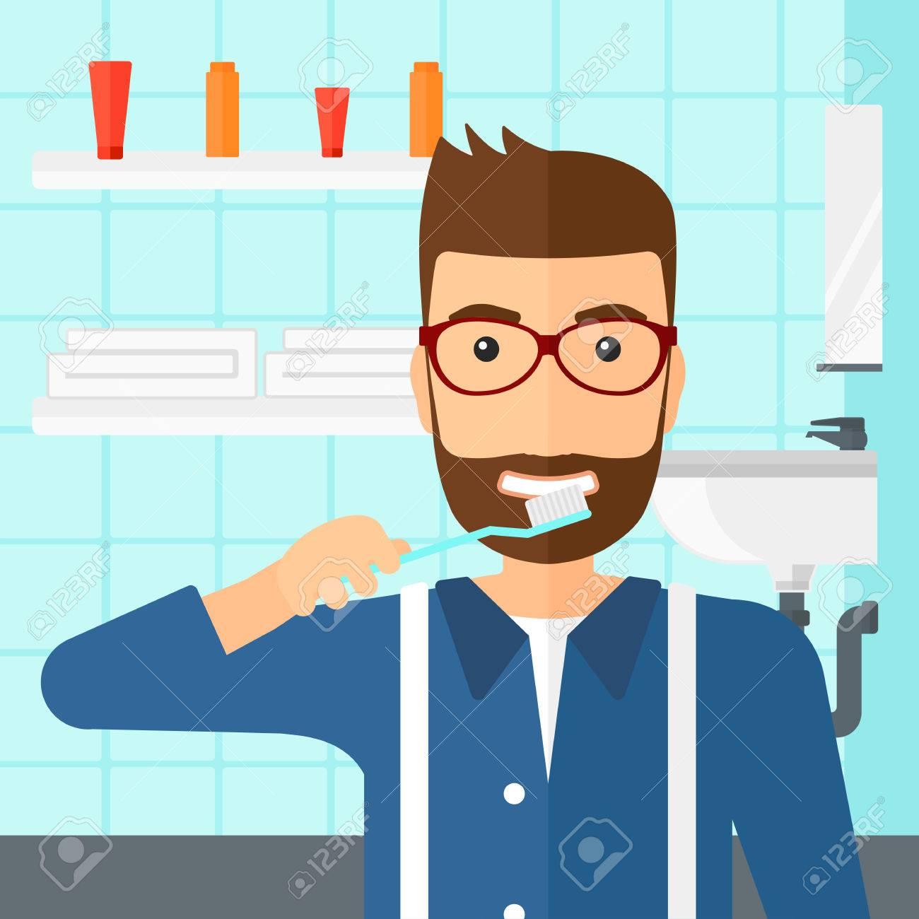 Salle De Bain Hipster ~ un homme hipster la barbe se brosser les dents avec une brosse