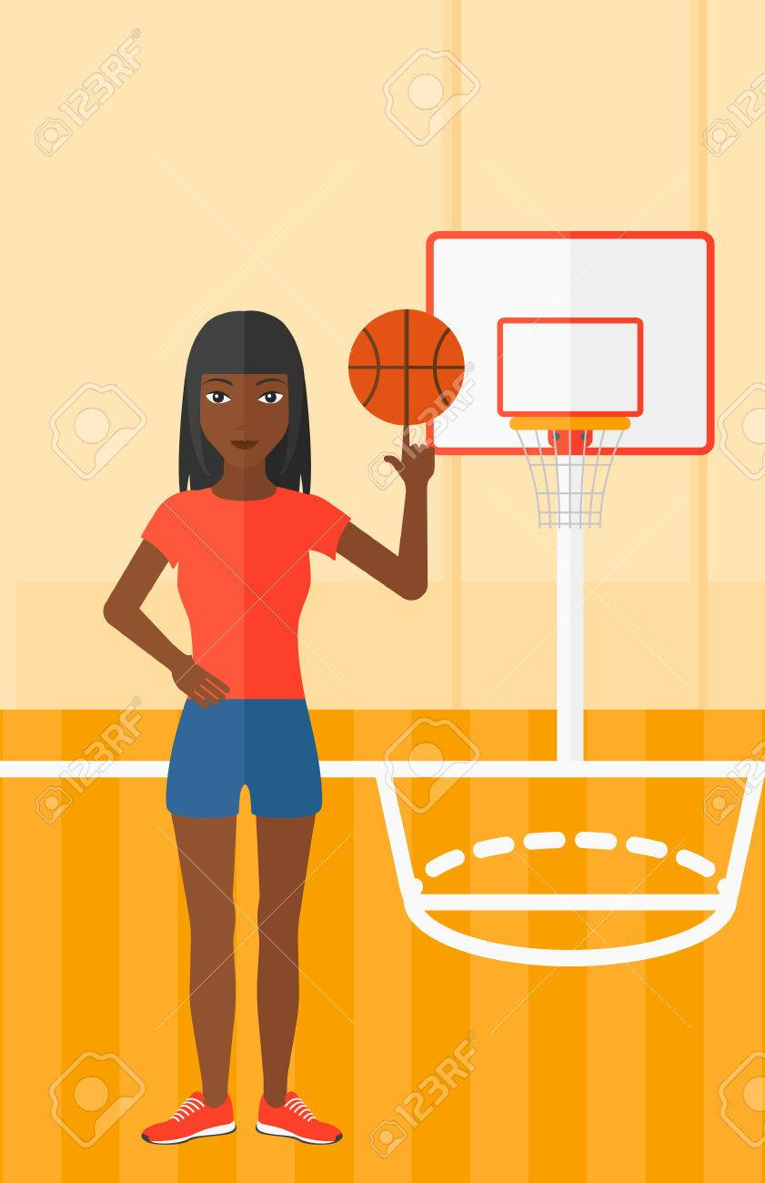 An African American Woman Spinning Basketball Ball On Her Finger Royalty Free Cliparts Vectors And Stock Illustration Image 52735155