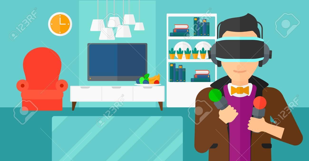 Ein Mann, Ein Virtuelles Relaity Headset Auf Dem Hintergrund Der Modernen  Wohnzimmer Vektor Flache Design