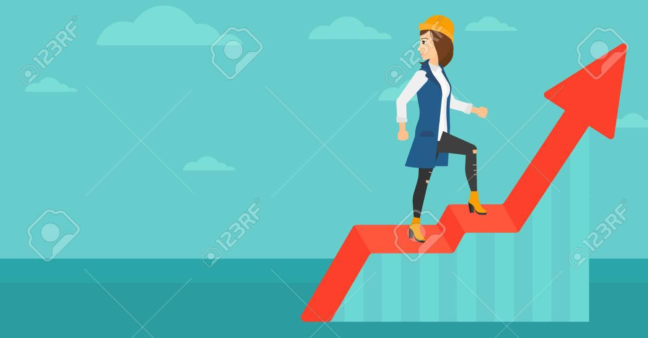 女性蜂起グラフの上に立って青空ベクトル フラット デザイン イラスト