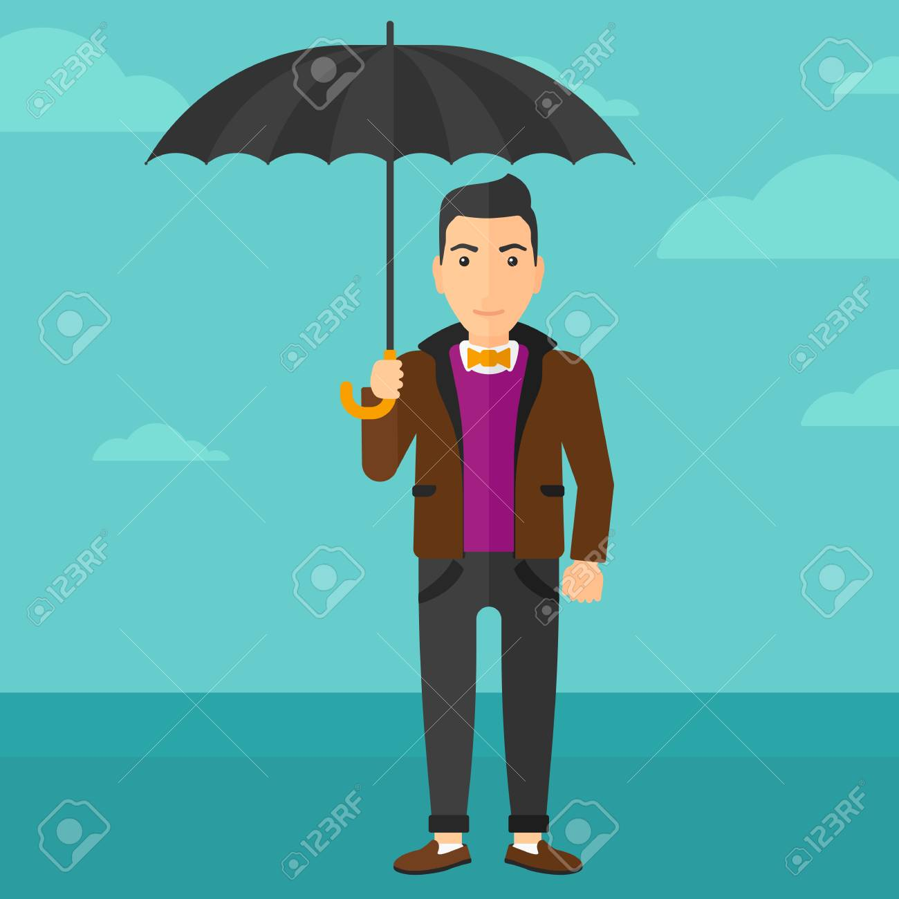 青空ベクトル フラットなデザインのイラストの背景に傘を持って立って