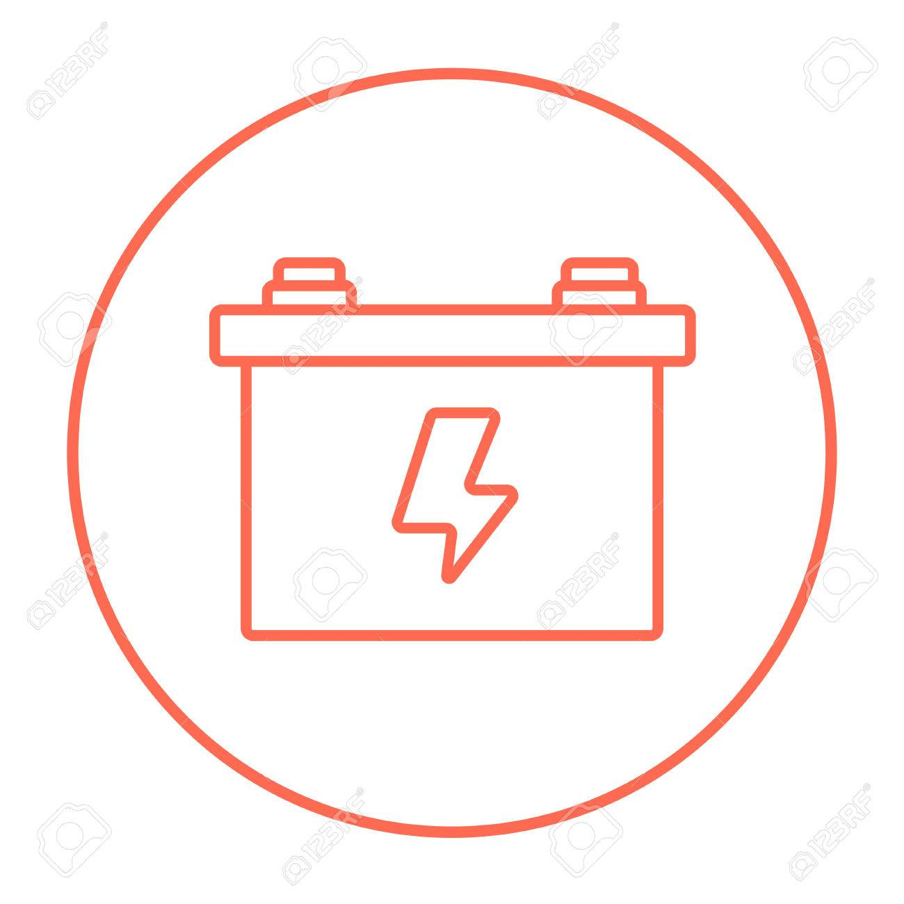 Car Battery Line Icon For Web Mobile And Infographics Vector