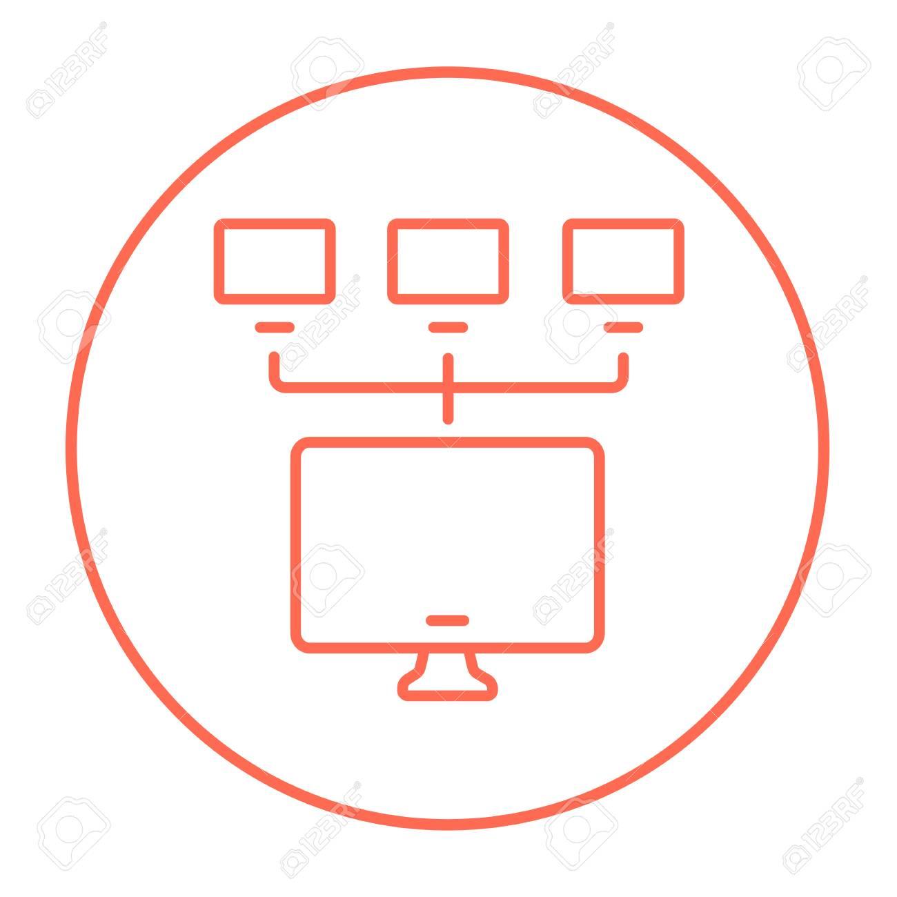 gruppe von monitoren in einer hierarchischen netzwerkleitung symbol
