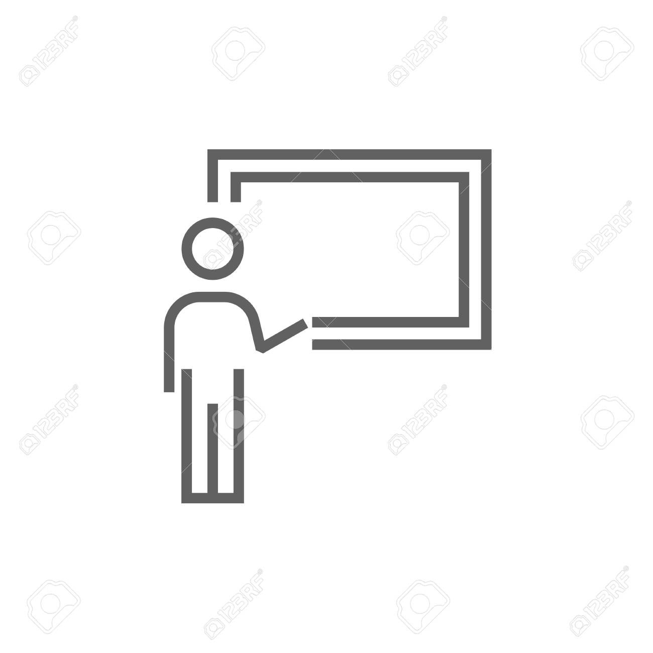 Professor pointing at blackboard thick line icon with pointed corners and edges for web, mobile and infographics. Vector isolated icon. - 53724229