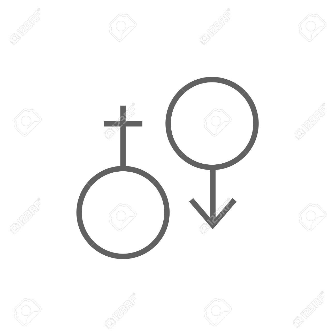 Male And Female Symbol Thick Line Icon With Pointed Corners And
