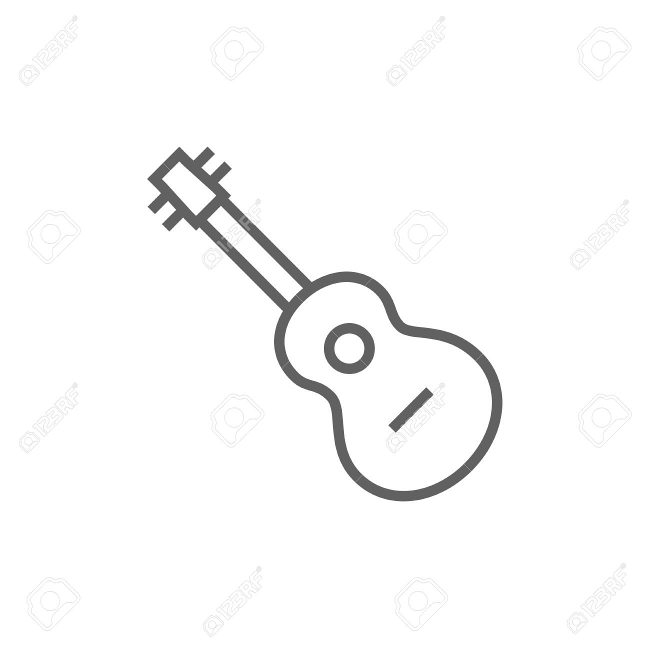 Guitar thick line icon with pointed corners and edges for web, mobile and infographics. Vector isolated icon. - 53726386
