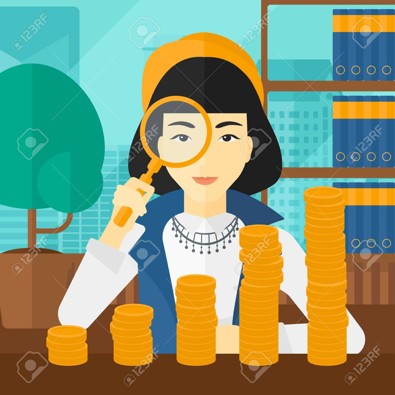 An asian woman holding a magnifier and looking at stacks of golden coins on the background of panoramic modern office with city view vector flat design illustration. Square layout. - 54054590