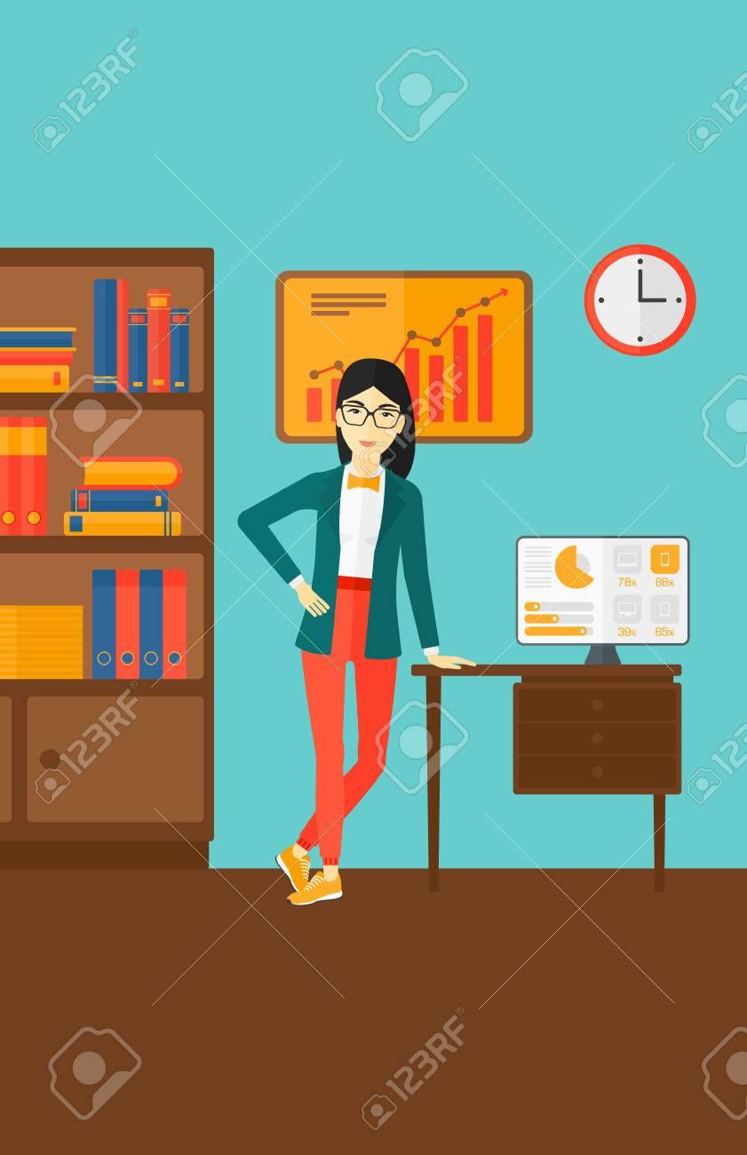 Una Mujer Asiática Apoyado En Una Mesa En El Fondo De La Ilustración ...