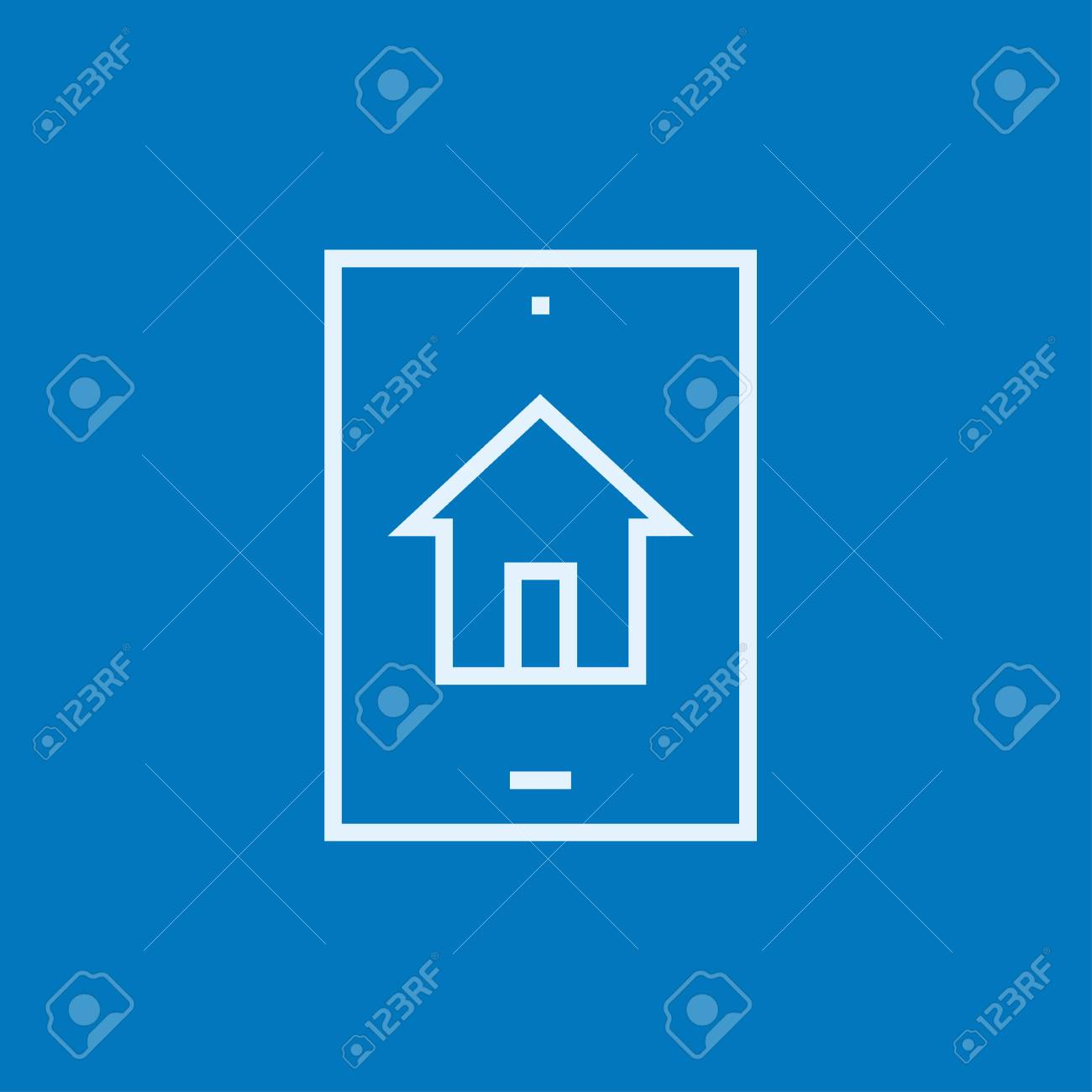 Ricerca Per Immagini Mobile ricerca di proprietà sull'icona della linea spessa del dispositivo mobile  con spigoli appuntiti e bordi per web, mobile e infografica. icona di