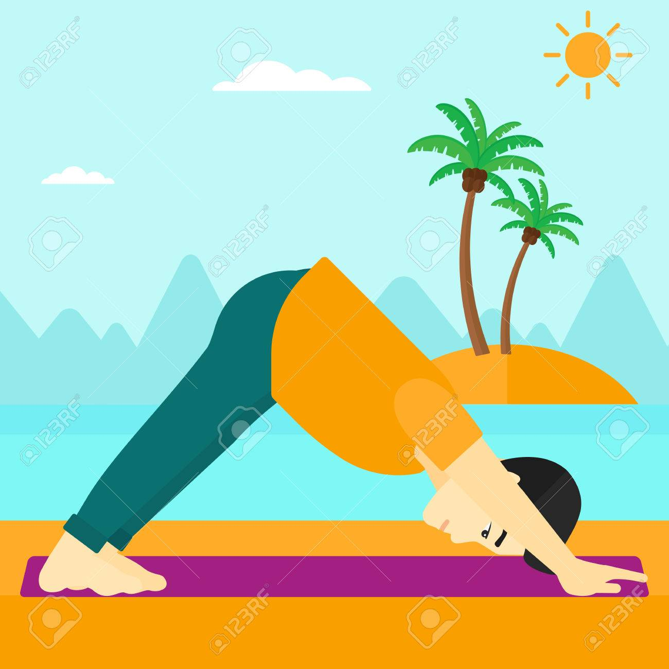 An asian man standing in yoga downward facing dog pose on the..