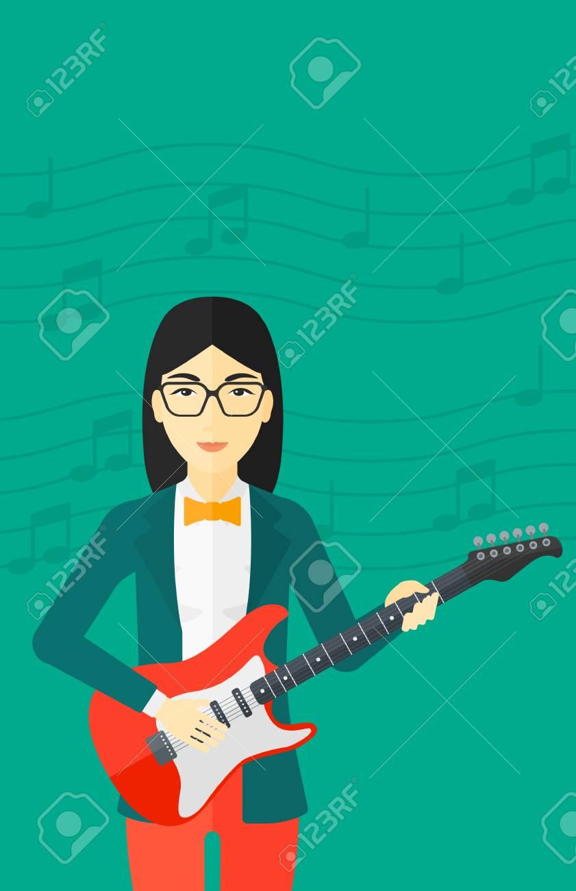 Eine Asiatische Lächelnde Frau Elektrische Gitarre Mit Musik Auf ...