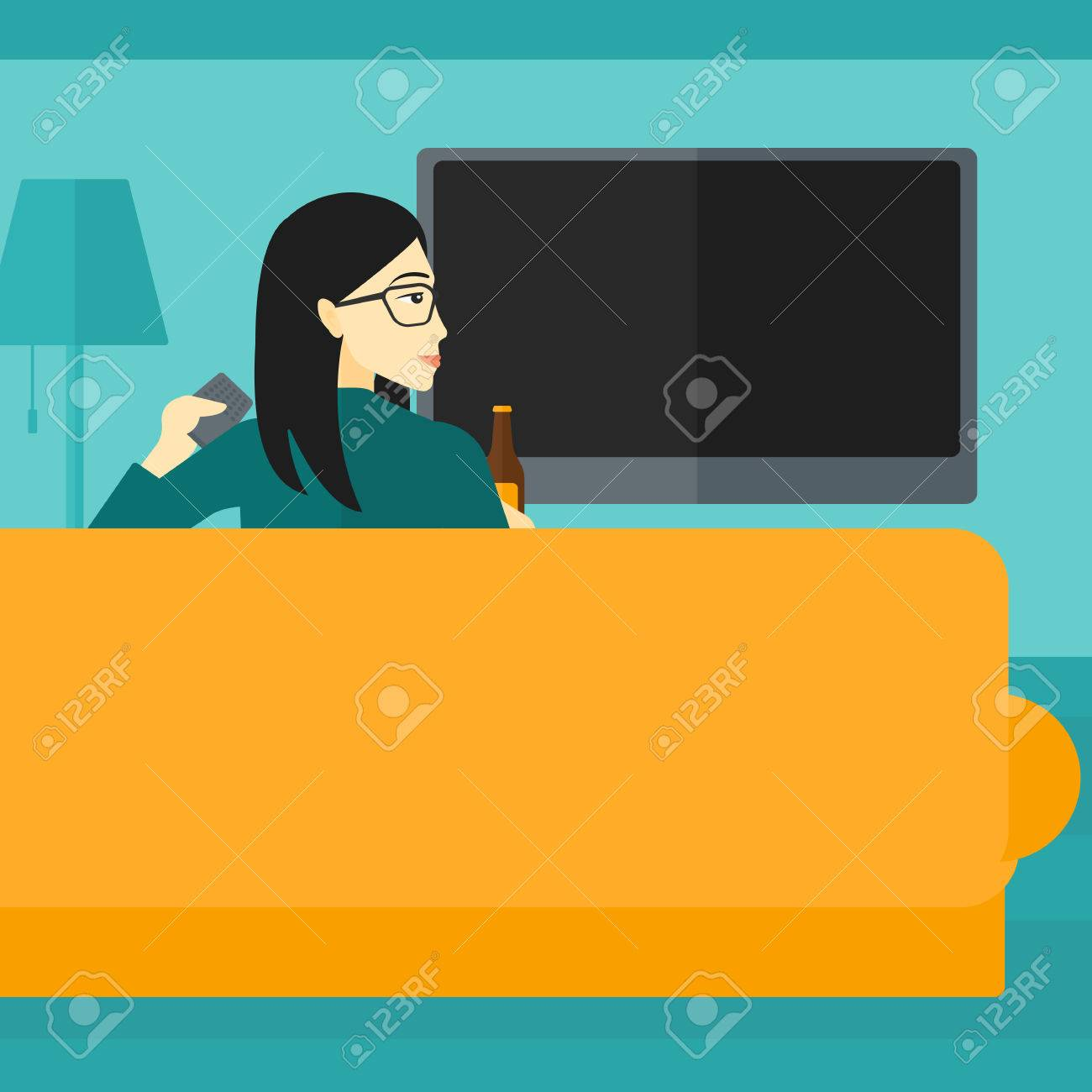 An Asian Woman Sitting On The Couch In Living Room And Watching Tv With Remote Controller