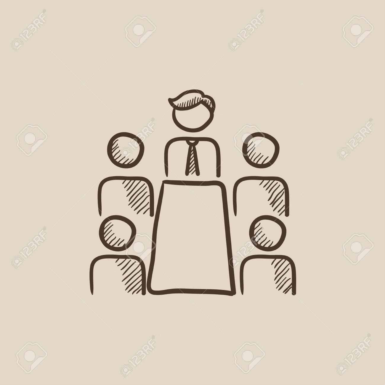 Reunión De Negocios En El Dibujo Icono De La Oficina Para Web Móvil