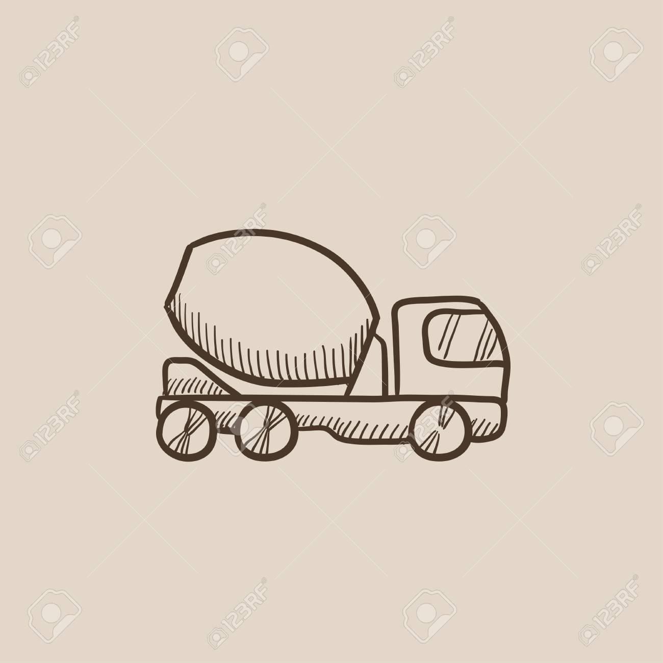 Betonmischer LKW Skizze Symbol Für Web, Mobile Und Infografiken ...