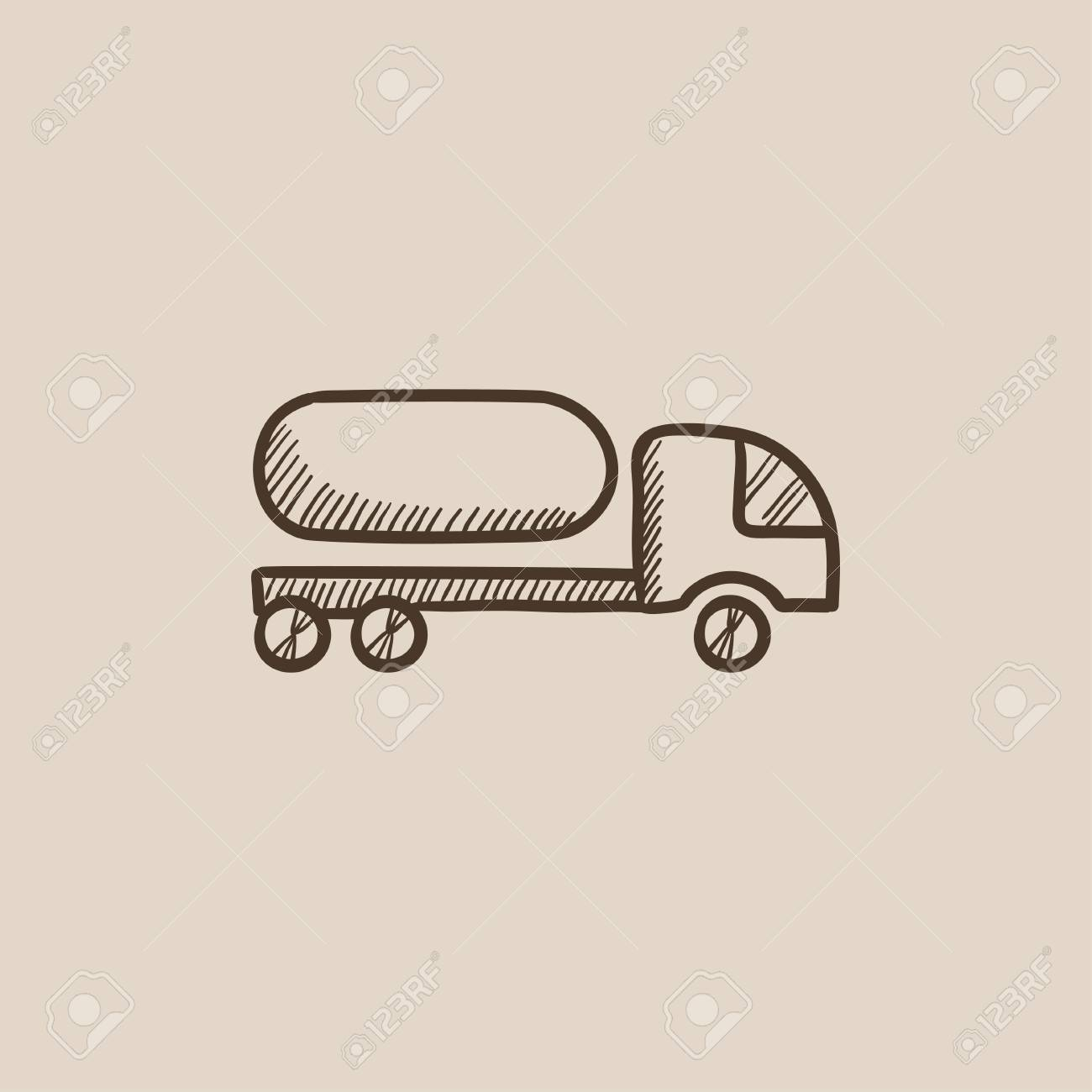 Kraftstoff-LKW Skizze Symbol Für Web, Mobile Und Infografiken. Hand ...