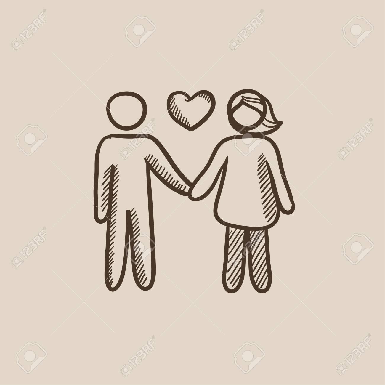 Pareja En El Amor Dibujo Icono Para Web Móvil Y La Infografía