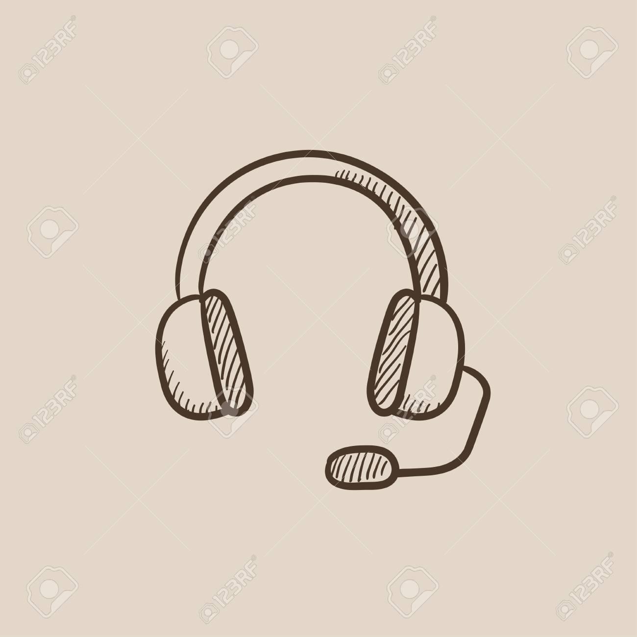 Casque d'écoute avec l'icône de croquis de microphone pour le web, mobile et infographie. Icône isolé de vecteur dessiné à la main.