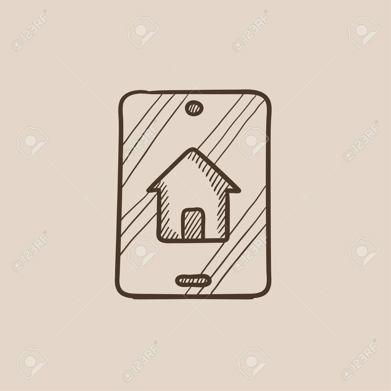 Ricerca Per Immagini Mobile ricerca di proprietà sull'icona di schizzo del dispositivo mobile per web,  mobile e infografica. icona isolata di vettore disegnato a mano.