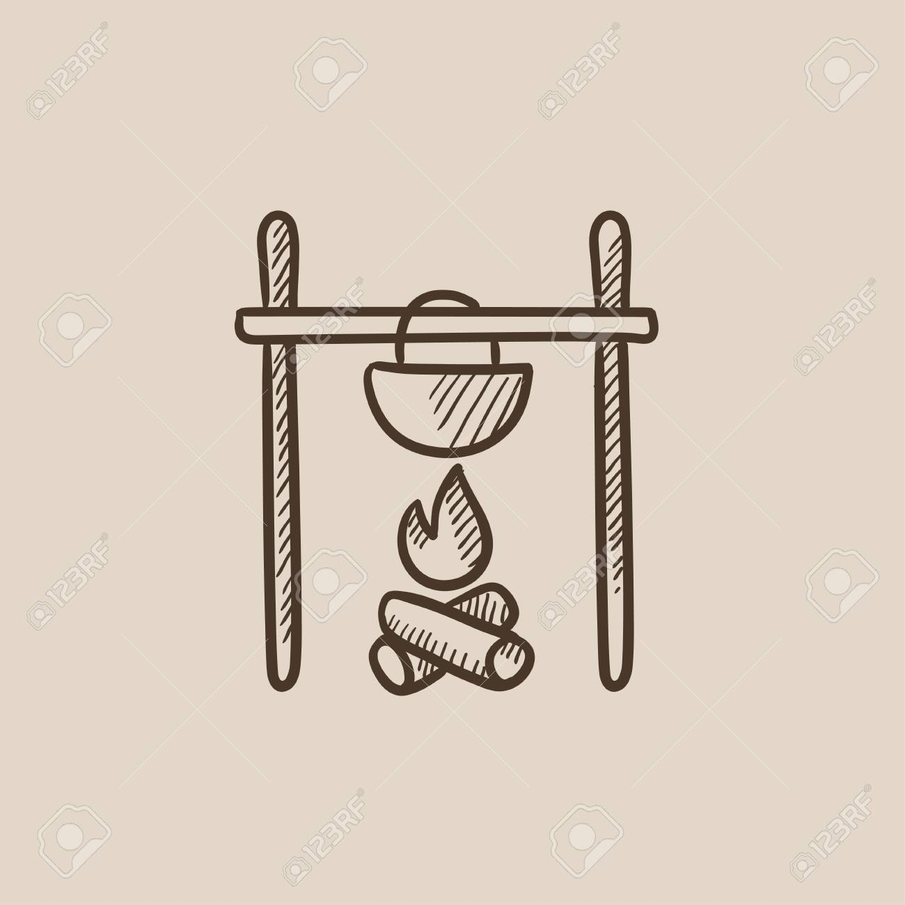 Cooking In Cauldron On Campfire Sketch Icon For Web Mobile And Infographics Hand Drawn
