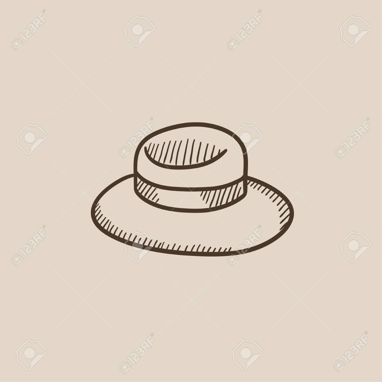 d6a4ea83586 Summer Hat Sketch Icon For Web