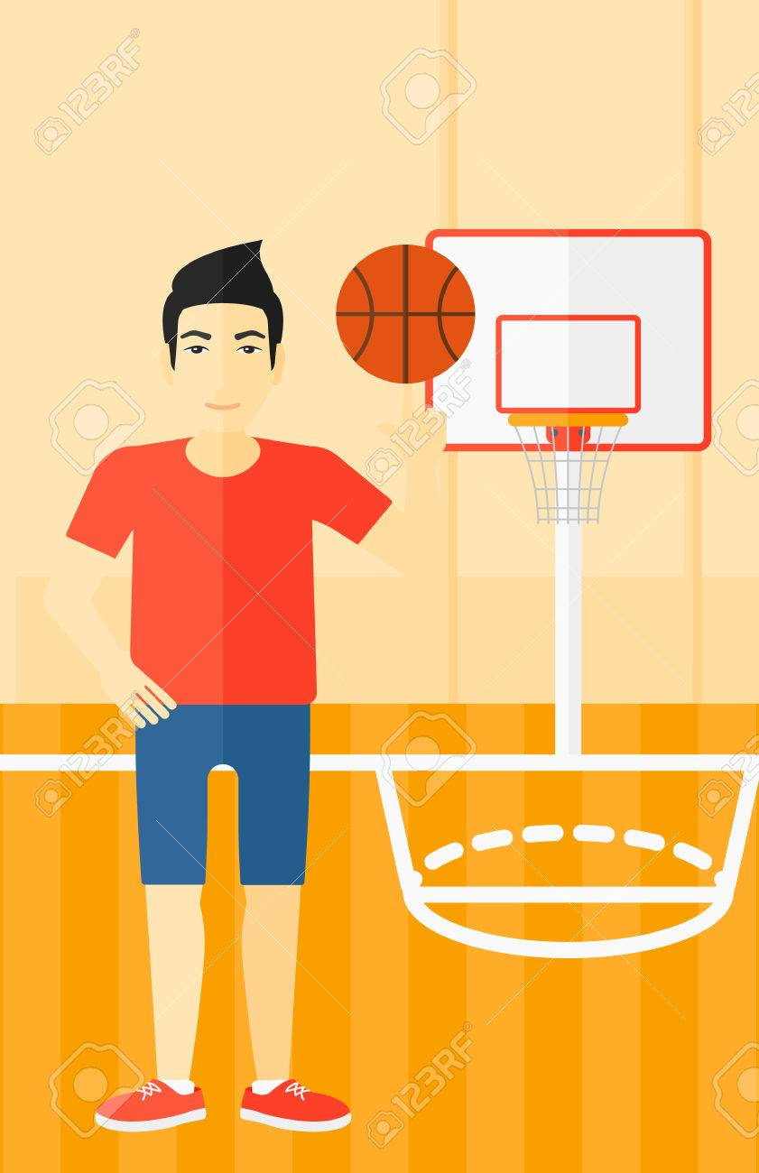 An Asian Man Spinning Basketball Ball On His Finger On The Background Royalty Free Cliparts Vectors And Stock Illustration Image 54900766