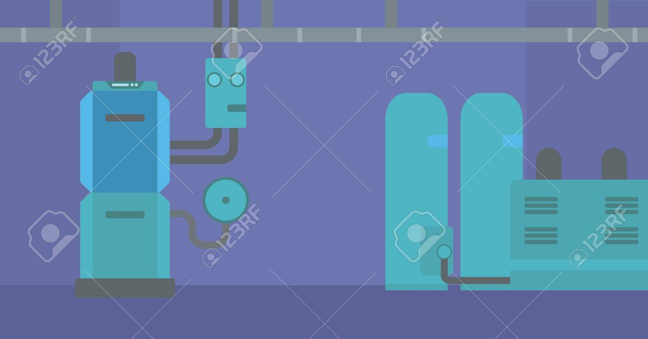 Background Of Domestic Household Boiler Room With Heating System ...