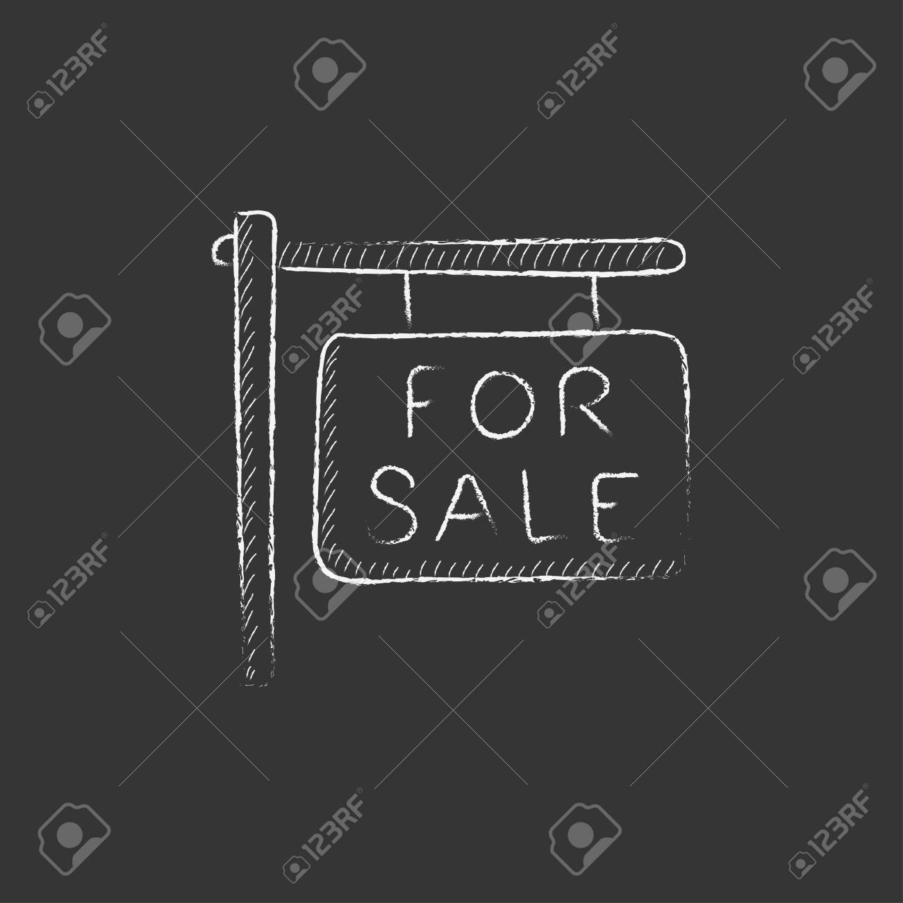 For sale placard. Hand drawn in chalk vector isolated icon for web, mobile and infographics. - 55073050
