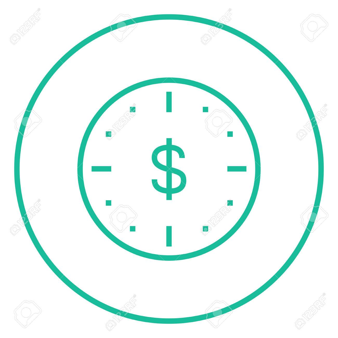 wall clock with a dollar symbol thick line icon with pointed rh 123rf com