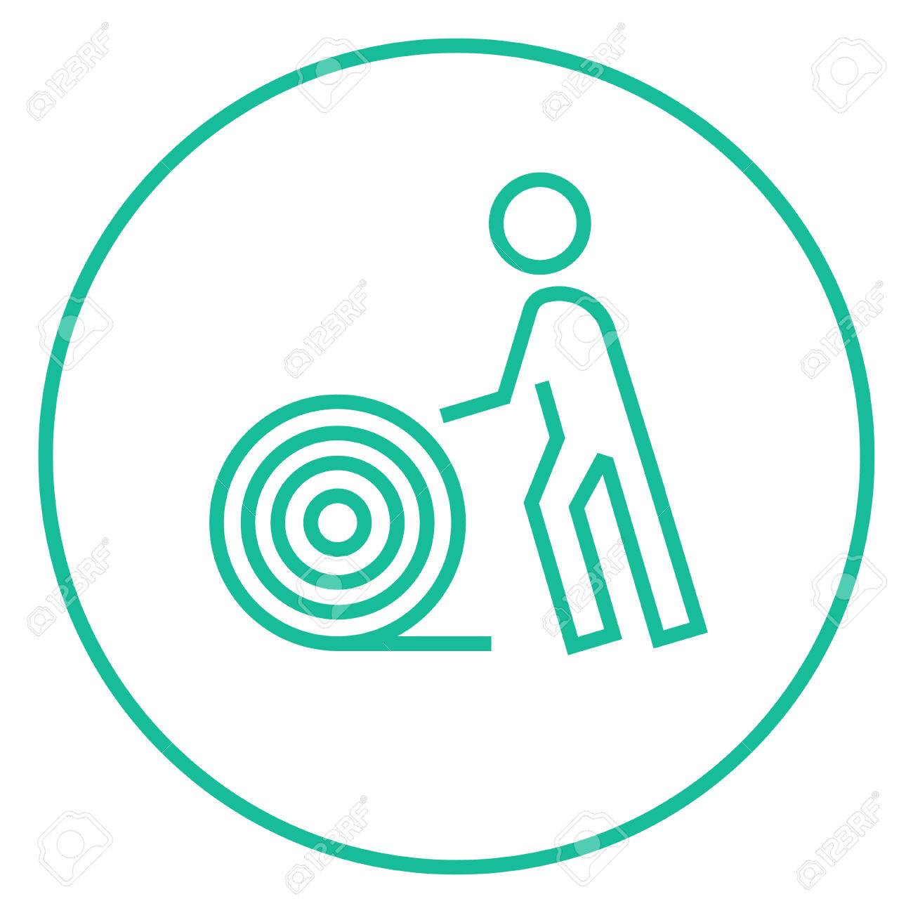 Man With Wire Spool Thick Line Icon With Pointed Corners And ...