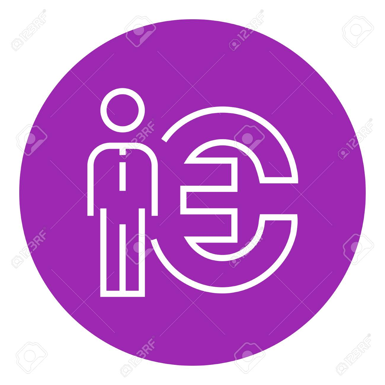 Businessman Standing Beside The Euro Symbol Thick Line Icon With