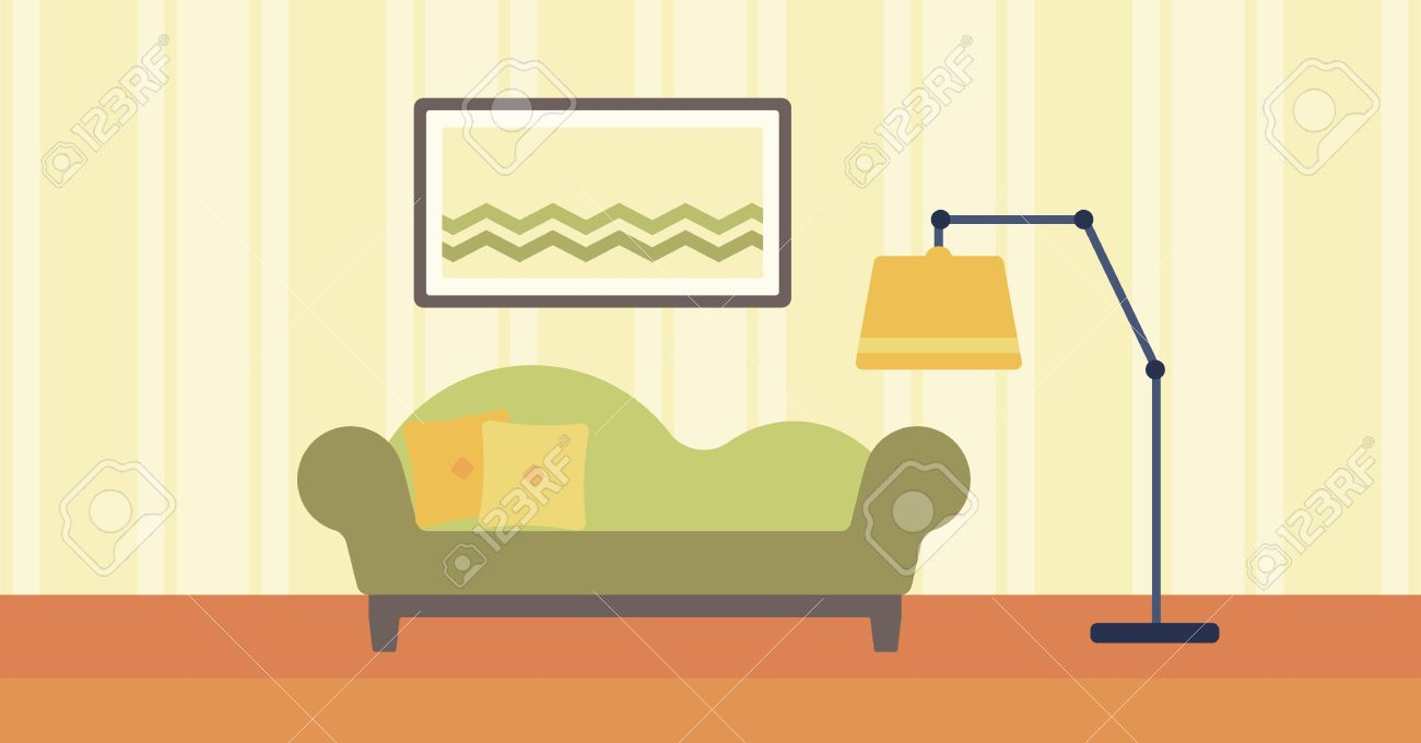 Background Of Living Room With Sofa And Picture On The Wall Vector Flat  Design Illustration.
