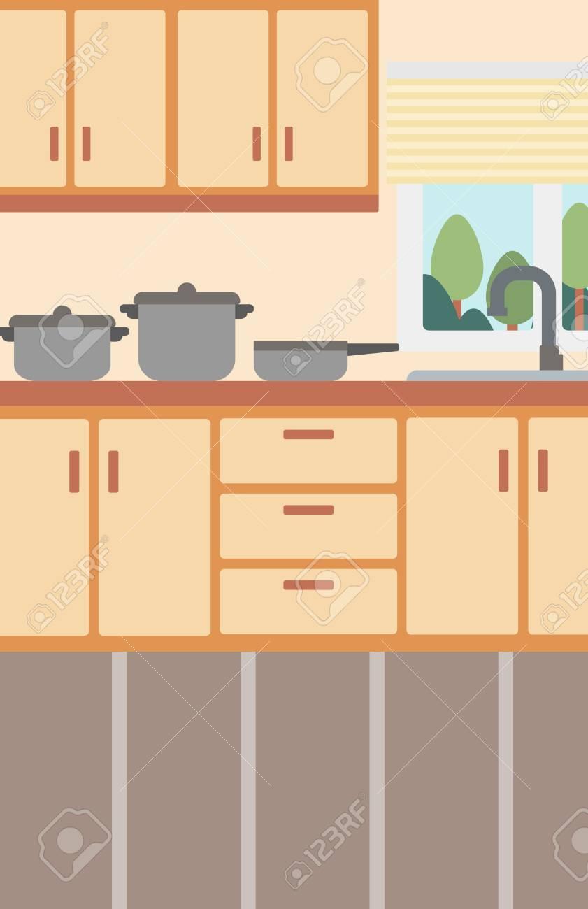 Hintergrund Der Küche Mit Geschirr Vektor Flache Design-Illustration ...