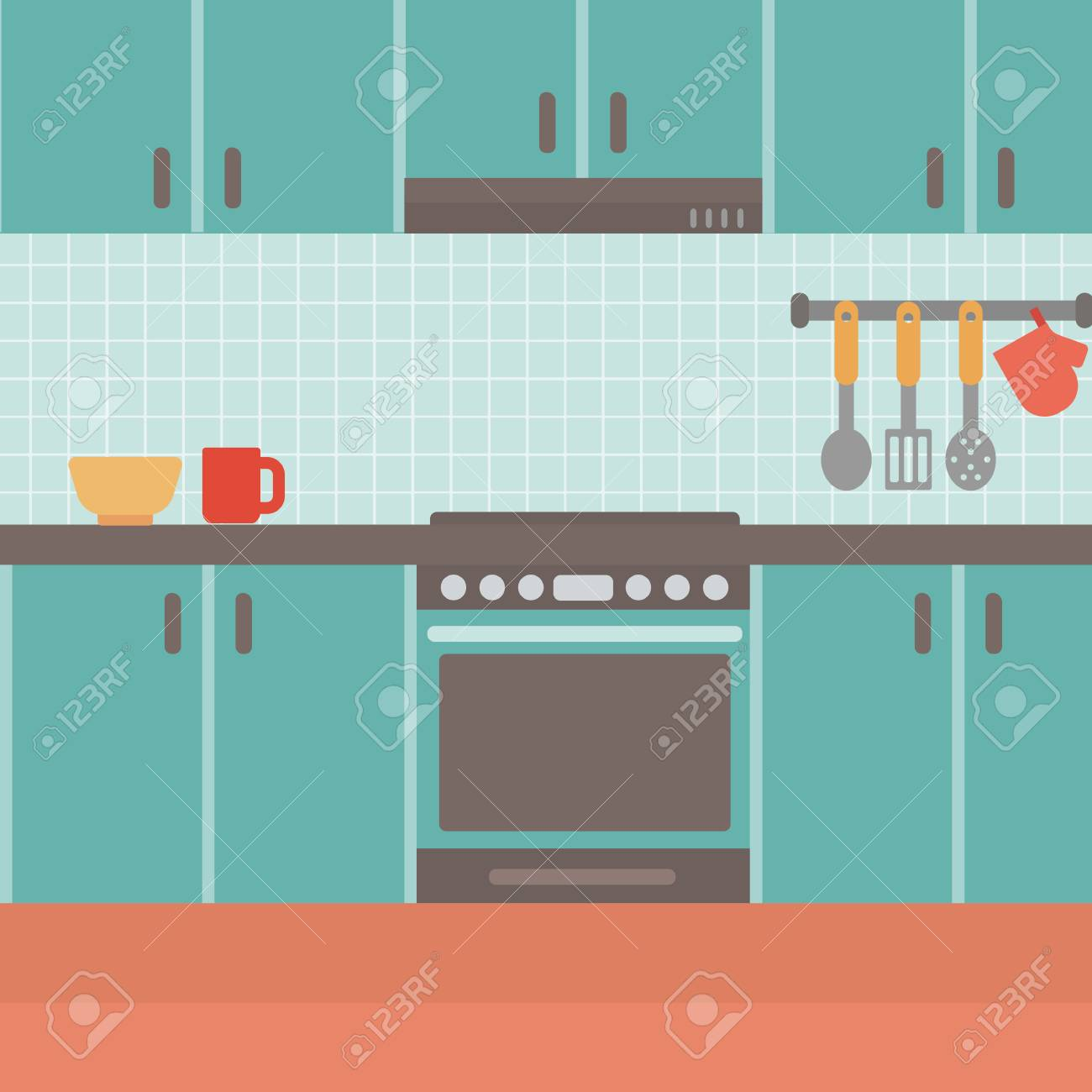 Background Of Kitchen Vector Flat Design Illustration. Square ...