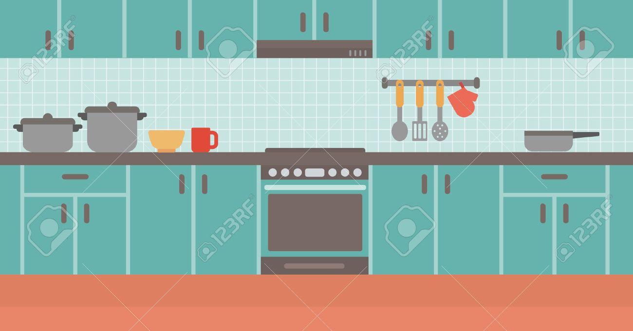 Hintergrund Der Küche Vektor Flache Design-Illustration. Horizontal ...