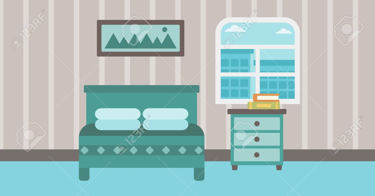 Background Of Bedroom Vector Flat Design Illustration Horizontal